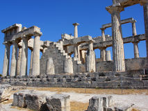 Temple of Poseidon - Cape Sounion, Greece. The ruins of typical hexastyle Temple of Poseidon in Capo Sounion, Greece Royalty Free Stock Images