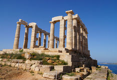 Temple of Poseidon at Cape Sounion near Athens, Greece. Royalty Free Stock Photography
