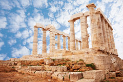 Temple of Poseidon on cape Sounion view Stock Images