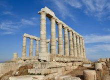 Temple of Poseidon. This is a Fall picture of the ruins of the Temple of Poseidon perched high above Cape Sounion, Greece. This was a venue used by Mariners to Stock Photos