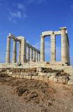 Temple of Poseidon, Greece. Remains of Temple of Poseidon, god of the sea in ancient Greek mythology, at Cape Sounion, near Athens (Greece stock photos