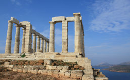 Temple of Poseidon near Athens, Greece. Remains of Temple of Poseidon, god of the sea in ancient Greek mythology, at Cape Sounion near Athens, Greece Stock Photo