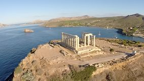 Temple of Poseidon in Sounio Greece aerial view. Temple of Poseidon in Sounio Greece aerial footage counterclockwise movement stock video footage
