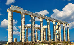 The temple of Poseidon in Sounio, Greece. The temple of Poseidon 448 BC in Sounio, Greece stock photo
