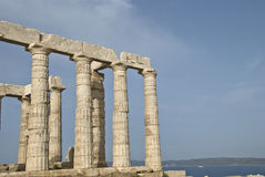 Temple of Poseidon on Sounion in Greece Stock Image