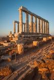 Temple of Poseidon at sunset , Atiika, Greece Royalty Free Stock Photos