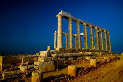 Temple of Poseidon (w. copy space) Royalty Free Stock Photo