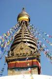 Temple & Prayer Flags. Temple with prayer flags, Kathmandu, Nepal Stock Image