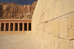 Temple of Queen Hatshepsut. The south colonade and ramp of the early new kingdom mortuary temple of Queen Hatshepsut at Thebes in Egypt, with the desert Royalty Free Stock Photos