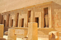 Temple of Queen Hatshepsut. Niches in the west wall of the upper court containing statues of Thutmoses II in the mortuary temple of Queen Hatshepsut at Thebes in Royalty Free Stock Photo