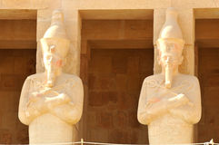 Temple of Queen Hatshepsut. Giant statues of Queen Hatshepsut at Thebes in Egypt Stock Image