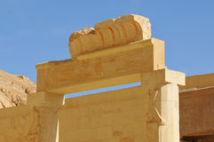 Temple of Queen Hatshepsut. Beautifully carved lintel over the entrance to the inner sanctum of the early middle kingdom mortuary temple of Queen Hatshepsut at Stock Photos