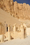Temple of Queen Hatshepsut. Papyrus columns around the entrance to the inner sanctuary of the  early new kingdom mortuary temple of Queen Hatshepsut at Thebes in Royalty Free Stock Image