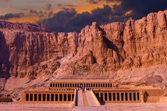 Temple of Queen Hatshepsut, View of the temple in the rock. In Egypt stock photo