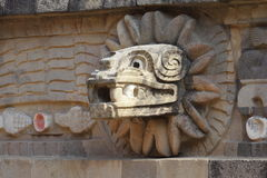 Temple of quetzalcoatl VI, teotihuacan stock images