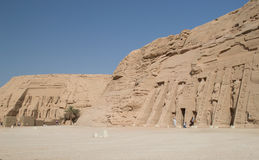 Temple of Ramses II and Nefertiti. Panoramic of the temple of Ramses II and Nefertiti Stock Photos