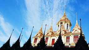 Temple Ratchanaddaram. The beautiful temples and a tourist attraction in the capital of Thailand Stock Photography