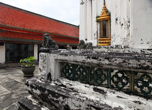 Temple with red roof. Part of Beautiful Wat Phra Kaeo temple with red roof in Thailand Royalty Free Stock Photos