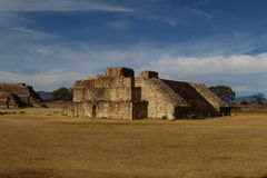 Temple remnants at Monte Alban. The remains of a Zapotec temple at Monte Alban outside Oaxaca, Mexico Stock Image