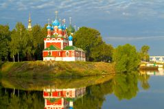 Temple on river bank royalty free stock photo