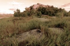 Precambrian granite rock in Ukraine. Island-temple on the river Ingul `Monastyrysche stock photo