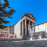 Temple of Roma and Augustus. In Pula main square, Croatia royalty free stock photo