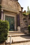 Temple of Romulus door in the Roman Forum, Rome, Italy Stock Photo