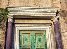 Temple of Romulus Door Roman Forum Rome Italy stock photography