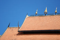 Temple roof. And blue sky in Thailand Stock Photography