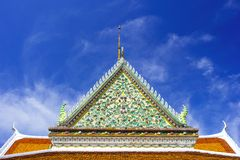 Temple roof. Art on Thai temple roof stock photography