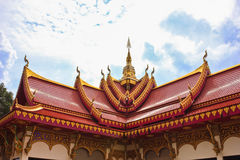 Temple roof. A beautiful red roof temple with the sky background Royalty Free Stock Photo