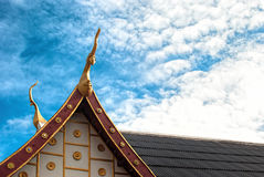 Temple roof. And blue sky Royalty Free Stock Photo