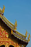 Temple roof. Closef up temple roof and blue sky background Royalty Free Stock Photo