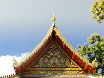 Temple roof. Daytime temple roof at 90 degrees at Wat Thai royalty free stock photos