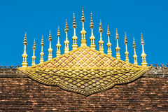 Temple roof decoration in Luang Prabang royalty free stock photos
