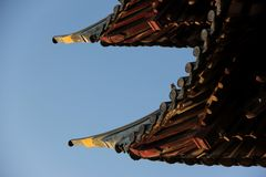Temple Roof. The Eaves of a Temple Roof at a Temple in Zhujiajiao, China royalty free stock photography