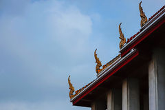 Temple Roof and Sky in thailand. Beautiful Temple Roof in Bangkok Thailand royalty free stock images