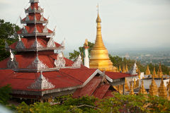 Temple roof and Stupa ,Sutaungpyai Pagoda,Mandalay Hill. Stock Photo