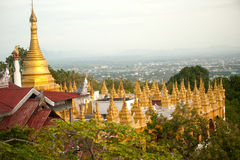 Temple roof and Stupa ,Sutaungpyai Pagoda,Mandalay Hill. Stock Photos