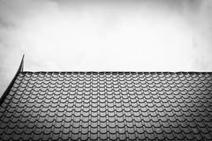 Temple roof texture in black and white Royalty Free Stock Photo