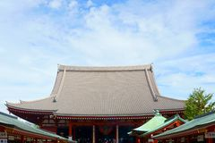 Temple roof of a traditional Japanese architecture. Asakusa Shrine is a Shinto shrine located in Tokyo, Japan. Tokyo, Japan - 10 Sept 2018: Temple roof of a stock photo