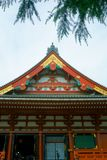 Temple roof of a traditional Japanese architecture. Asakusa Shrine is a Shinto shrine located in Tokyo, Japan. Tokyo, Japan - 10 Sept 2018: Temple roof of a stock images