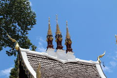 Temple Roof with Tree. This image shows a temple roof against a deep blue sky, with a few wispy white clouds. There are decorative finials and towers visible on Royalty Free Stock Photos