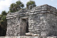 Temple without roof in Tulum, Mexico. Temple without roof in the archaeological zone of tulum in Mexico. Interesting construction made of stones stock photos