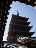 Temple and roofs. Japanese temple view through the surrounded ancient roofs, Tokyo Japan Royalty Free Stock Photography