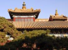 Temple roofs. Tibetan Buddhist temple Yong He Gong, Beijing, China Stock Photos