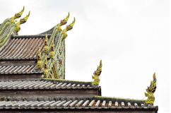 Temple rooftop. Thai temple emerald naga rooftop stock photography