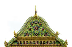 Temple rooftop. Thai temple emerald naga gable royalty free stock images