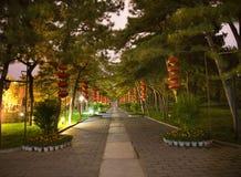 temple rouge du soleil de stationnement de nuit de lanternes de porcelaine de Pékin Image libre de droits