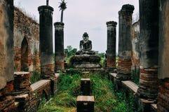 Temple ruin with Buddha scenery near Bagan. Royalty Free Stock Image